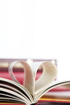 Heart Shaped Book Pages Stock Photo