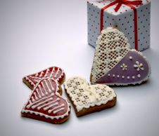 Free Gingerbread Hearts With The Package Stock Photography - 36699882