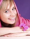Free Beautiful Girl With Pink Orchid Stock Image - 3676241
