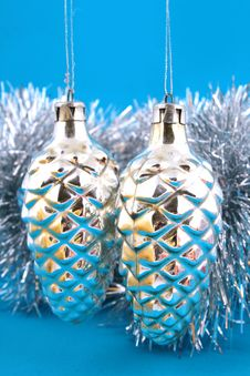 Christmas Ball On A Blue Background Royalty Free Stock Image