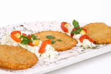 Free Potato Pancake / Griddle Cake On Plate Isolated Stock Photography - 3672162