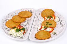 Free Potato Pancake / Griddle Cake On Plate Isolated Stock Photos - 3672253