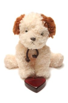 Greeting Card - Toy Dog With Heart In A Box 05 Royalty Free Stock Image