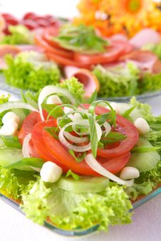 Free Fresh Salad With Onion, Tomato And Basil Royalty Free Stock Image - 3672956