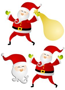 Various Isolated Santa Claus Clip Art