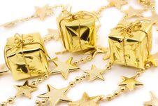 Golden Christmas Gift Boxes Stock Photos