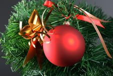 Free Red Ball Hanging From Christmas Tree Stock Photos - 3674793