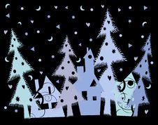 Christmas Blue Town Royalty Free Stock Photos
