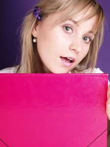 Free Woman With Folder Royalty Free Stock Photos - 3676258