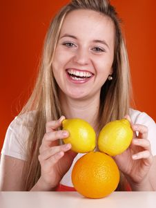 Free Girl Has Fun With Fruits Royalty Free Stock Image - 3676396