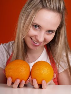 Free Woman With Oranges Royalty Free Stock Photography - 3676457