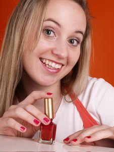 Woman Applying Nail Polsih Stock Photos
