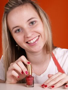 Free Smiling Girl With Nail Polish Royalty Free Stock Photo - 3676635