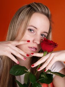 Girl In Love Holding A Red Rose Stock Photos