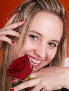 Free Girl Holding A Rose Stock Photo - 3676770