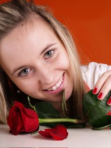 Free Woman Holding Red Rose Royalty Free Stock Photos - 3676828