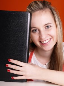 Free Smiling Woman With Folder Royalty Free Stock Image - 3676896