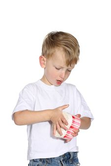 Free Boy Opening A Present Royalty Free Stock Image - 3678026
