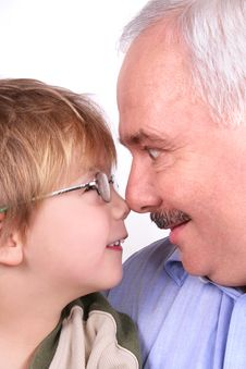 Free Grandfather Grandson Forehead Royalty Free Stock Photo - 3678625
