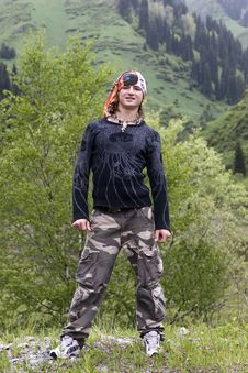 Sport Teenager In Bandana In Mountains Stock Images