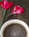 Free Two Hearts On String, Coffee Cup On Old Wooden Boards Stock Image - 36702241