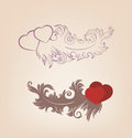 Free Valentines Background Heart Floral Motif Royalty Free Stock Photos - 36706778