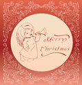 Free Christmas Background With Singing Angel. Royalty Free Stock Photos - 36706798