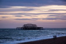 Free West Pier Ruins At Sunset, Brighton Beach, England Royalty Free Stock Photography - 36705757