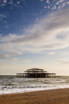 Free West Pier Ruins At Sunset, Brighton Beach, England Royalty Free Stock Images - 36705779