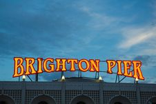 Brighton Pier Lights, England Stock Photography