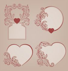 Free Valentines Background Heart Floral Motif Royalty Free Stock Images - 36706779