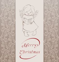 Free Christmas Background With Singing Angel. Royalty Free Stock Photography - 36706797