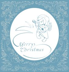 Free Christmas Background With Singing Angel. Royalty Free Stock Image - 36706806