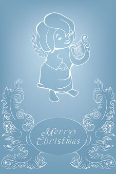Free Christmas Background With Singing Angel. Royalty Free Stock Photography - 36706807
