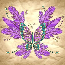 Free Vector Background With Butterfly And Feather Stock Images - 36707194