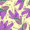 Free Vector Seamless Pattern With Butterflys Wings Royalty Free Stock Image - 36707186