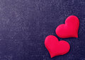 Free Two Red Hearts On A Black Board Royalty Free Stock Images - 36711979