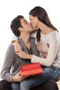 Free Kiss And Gift Royalty Free Stock Photo - 36712235