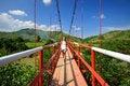 Free Traveler Passes The River On A Suspension Bridge. Vietnam Royalty Free Stock Image - 36713926