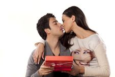 Free Kiss And Gift Stock Images - 36712234