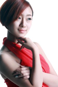 Chinese Girl Wearing A Red Dress Royalty Free Stock Photos