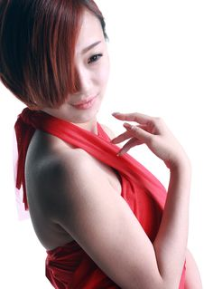 Free Chinese Girl Wearing A Red Dress Stock Photos - 36713613