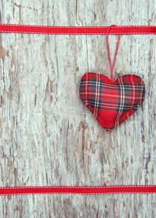 Valentine Card With Textile Heart On Old Wood Royalty Free Stock Photography