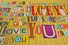 I LOVE YOU Message Stock Image