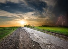 Free Road And Stormy Royalty Free Stock Photo - 36717135