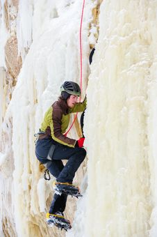 Free Young Man Climbing The Ice Stock Photos - 36719493