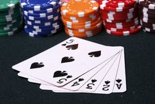 Colorful Chips And Spade Flush Stock Photography