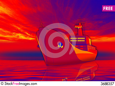 Free Ship In Red Royalty Free Stock Photography - 3688357