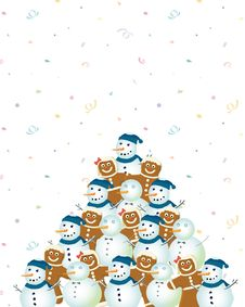 Free Snowman And Ginger Holiday Tree Stock Photography - 3680082