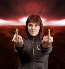 Free Middle Finger Redhead Stock Image - 3680201